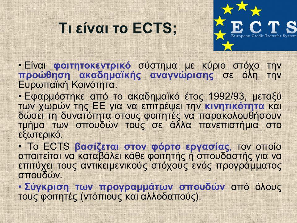 Τι είναι το ECTS; Είναι φοιτητοκεντρικό σύστημα με κύριο στόχο την προώθηση ακαδημαϊκής αναγνώρισης σε όλη την Ευρωπαϊκή Κοινότητα. Εφαρμόστηκε από το