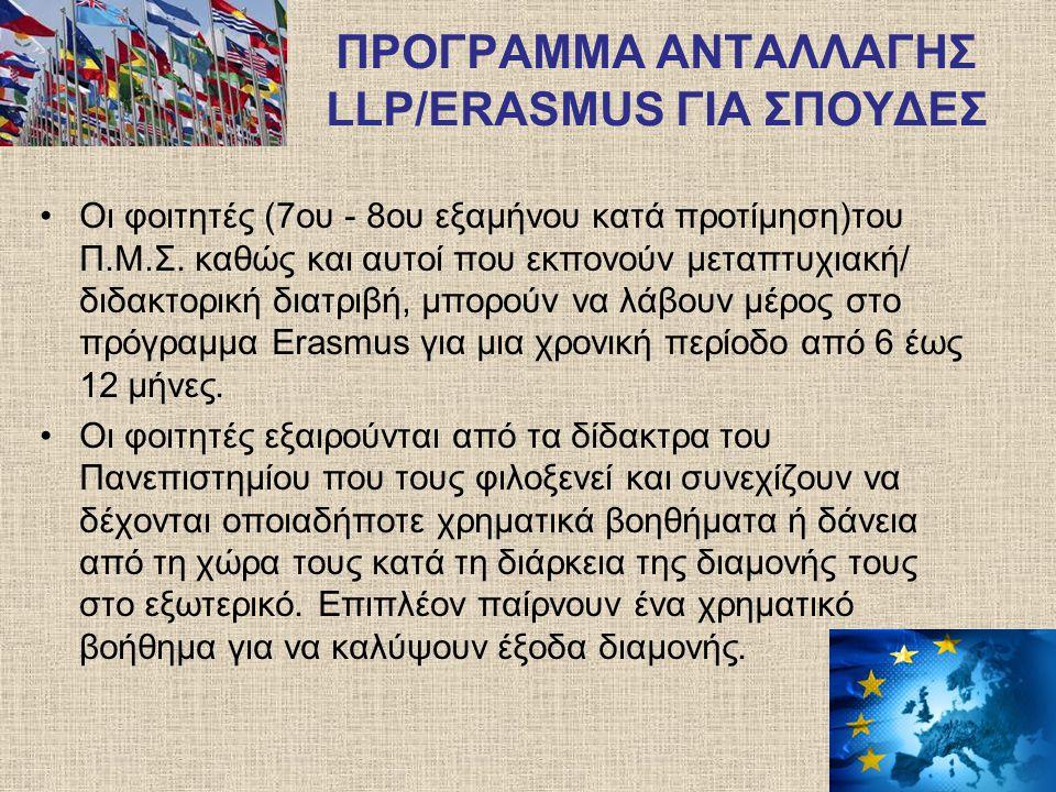 ΠΡΟΓΡΑΜΜΑ ΑΝΤΑΛΛΑΓΗΣ LLP/ERASMUS ΓΙΑ ΣΠΟΥΔΕΣ Παρακολούθηση μαθημάτων ή εκπόνηση project για 6 - 12 μήνες Αίτηση εκδήλωσης ενδιαφέροντος : έως 15/3/2013 Ανακοίνωση αποτελεσμάτων επιλογής: Αρχές Απριλίου 2013 Ανακοίνωση κενών θέσεων: Αμέσως μετά