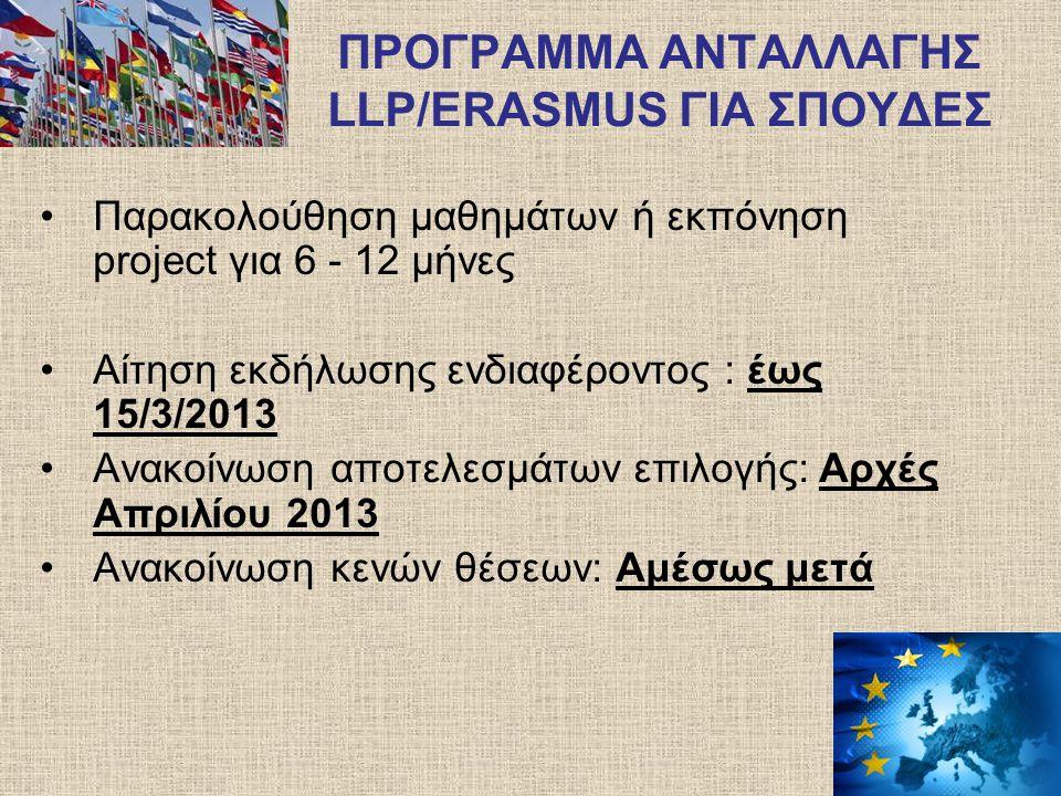 ΠΡΟΓΡΑΜΜΑ ΑΝΤΑΛΛΑΓΗΣ LLP/ERASMUS ΓΙΑ ΣΠΟΥΔΕΣ Παρακολούθηση μαθημάτων ή εκπόνηση project για 6 - 12 μήνες Αίτηση εκδήλωσης ενδιαφέροντος : έως 15/3/201