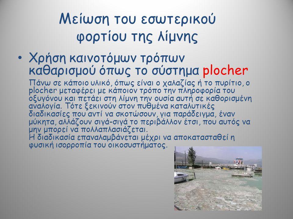 Μείωση του εσωτερικού φορτίου της λίμνης Χρήση καινοτόμων τρόπων καθαρισμού όπως το σύστημα plocher Πάνω σε κάποιο υλικό, όπως είναι o χαλαζίας ή το πυρίτιο, ο plocher μεταφέρει με κάποιον τρόπο την πληροφορία του οξυγόνου και πετάει στη λίμνη την ουσία αυτή σε καθορισμένη αναλογία.