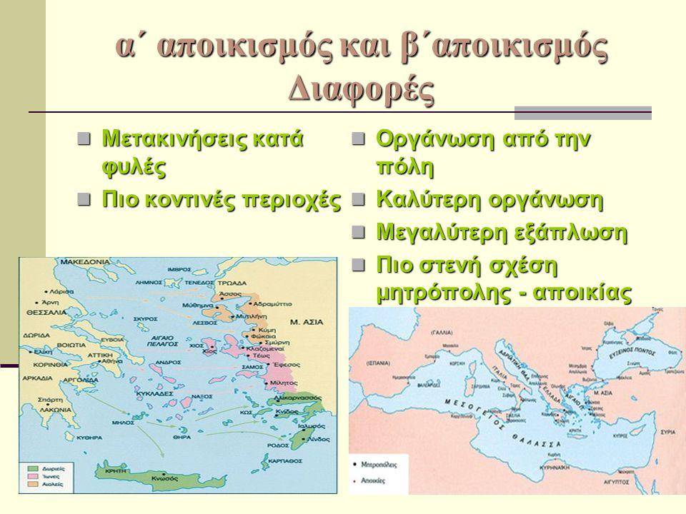 α΄ αποικισμός και β΄αποικισμός Διαφορές Μετακινήσεις κατά φυλές Μετακινήσεις κατά φυλές Πιο κοντινές περιοχές Πιο κοντινές περιοχές Οργάνωση από την π