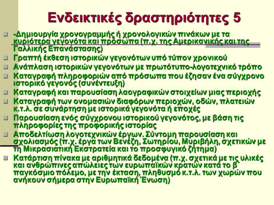Ενδεικτικές δραστηριότητες 5 -Δημιουργία χρονογραμμής ή χρονολογικών πινάκων με τα κυριότερα γεγονότα και πρόσωπα (π.χ.