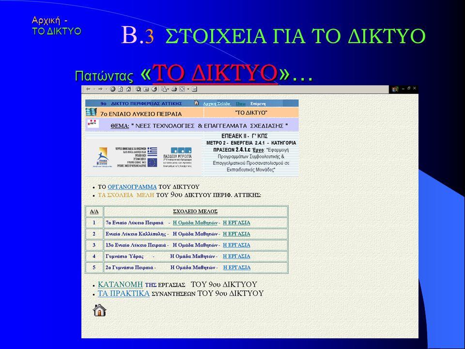 Α. 5 Ακολουθεί πλοήγηση … Οι εικόνες των ιστοσελίδων στην οθόνη, σε αρχείο βρίσκονται εδώ.εδώ 7ο Ενιαίο Λύκειο Πειραιά