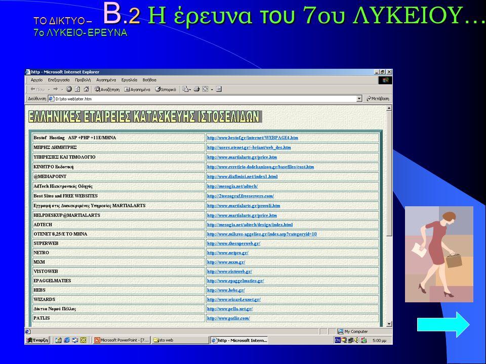 ΤΟ ΔΙΚΤΥΟ – 7ο ΛΥΚΕΙΟ- ΕΡΕΥΝΑ Β. 2 Η έρευνα του 7ου ΛΥΚΕΙΟΥ … Η ΕΡΕΥΝΑ Αποτυπώνει Ελληνικές Εταιρείες κατασκευής Ιστοσελίδων και προβολής τους στο Δια