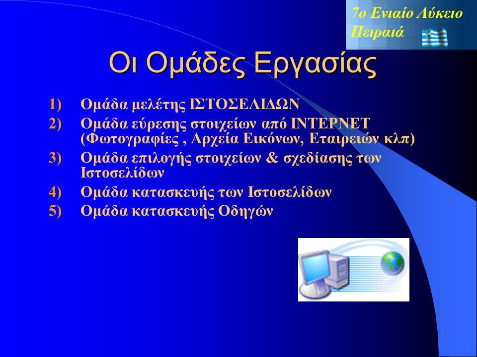 Στις «Νέες Τεχνολογίες και Επαγγέλματα σχεδίασης» το 7ο Ενιαίο Λύκειο Πειραιά « Κατασκευή Ιστοσελίδας» ΜΑΪΟΣ 2004 « Έρευνα » « Συγκέντρωση Υλικού Σχολ