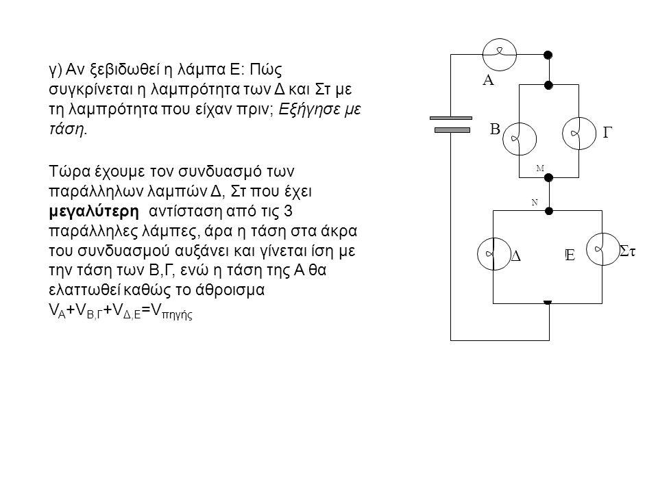 Β Γ Δ Ε Στ Α Μ Ν γ) Αν ξεβιδωθεί η λάμπα Ε: Πώς συγκρίνεται η λαμπρότητα των Δ και Στ με τη λαμπρότητα που είχαν πριν; Εξήγησε με τάση.