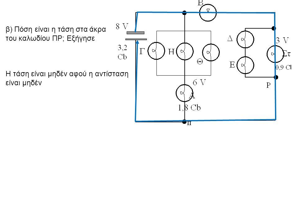 β) Πόση είναι η τάση στα άκρα του καλωδίου ΠΡ; Εξήγησε Η τάση είναι μηδέν αφού η αντίσταση είναι μηδέν