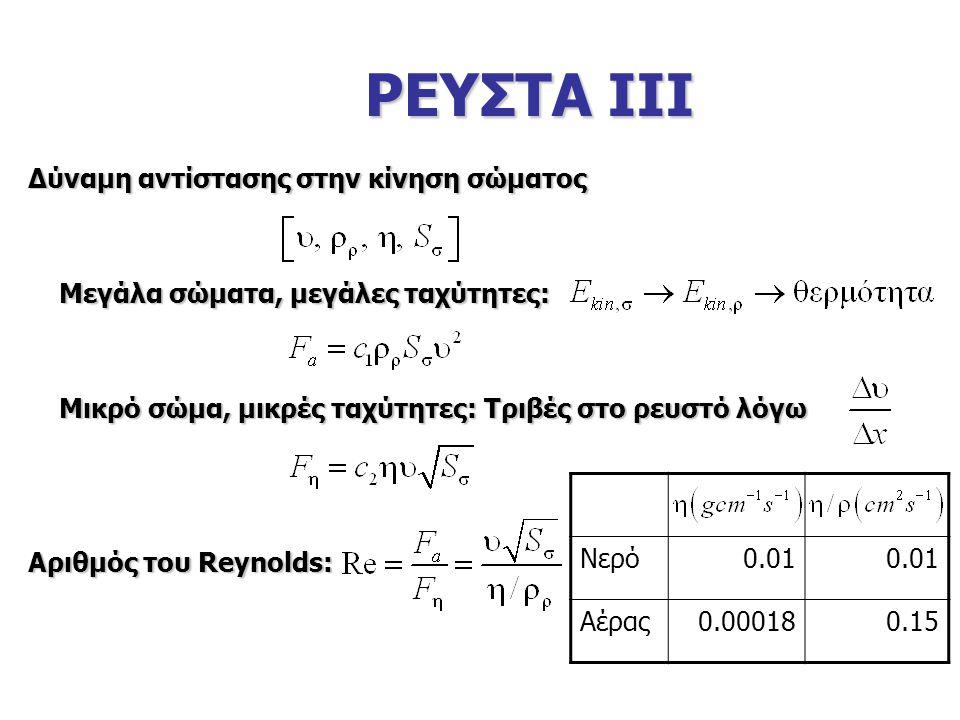 ΡΕΥΣΤΑ ΙΙΙ Δύναμη αντίστασης στην κίνηση σώματος Μεγάλα σώματα, μεγάλες ταχύτητες: Μεγάλα σώματα, μεγάλες ταχύτητες: Μικρό σώμα, μικρές ταχύτητες: Τριβές στο ρευστό λόγω Μικρό σώμα, μικρές ταχύτητες: Τριβές στο ρευστό λόγω Αριθμός του Reynolds: Νερό0.01 Αέρας0.000180.15