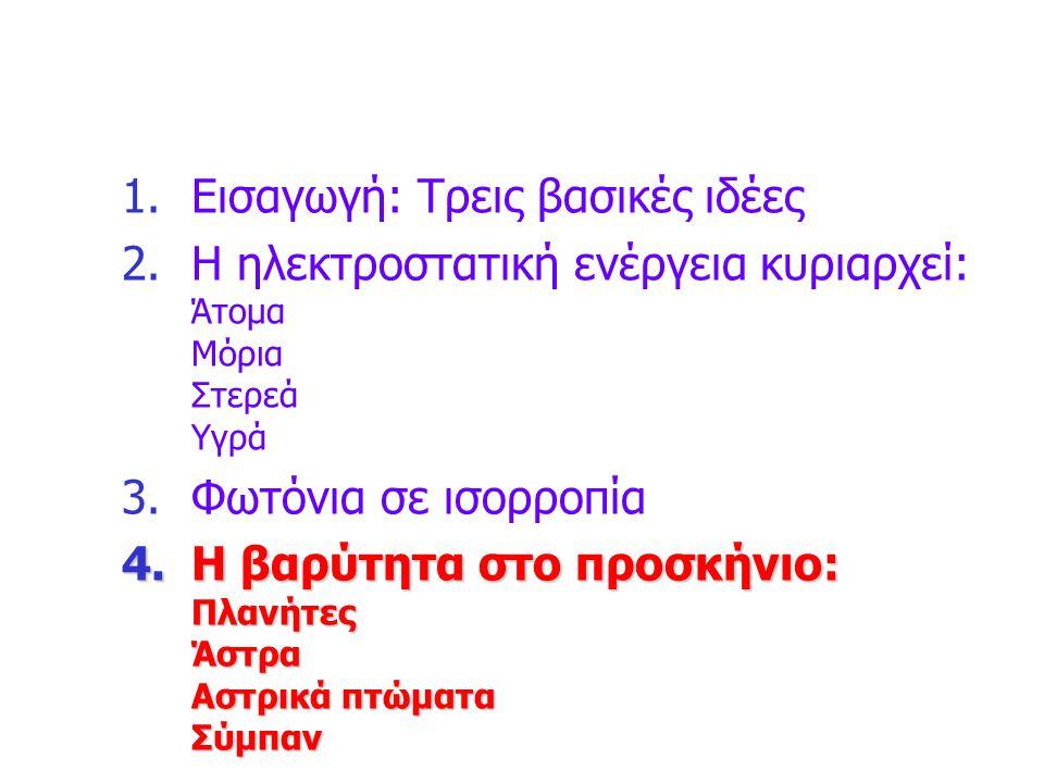 1.Εισαγωγή: Τρεις βασικές ιδέες 2.Η ηλεκτροστατική ενέργεια κυριαρχεί: Άτομα Μόρια Στερεά Υγρά 3.Φωτόνια σε ισορροπία 4.Η βαρύτητα στο προσκήνιο: Πλαν