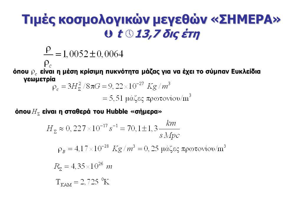 όπου είναι η μέση κρίσιμη πυκνότητα μάζας για να έχει το σύμπαν Ευκλείδια γεωμετρία Τιμές κοσμολογικών μεγεθών «ΣΗΜΕΡΑ»  t  13,7 δις έτη όπου είναι η σταθερά του Hubble «σήμερα»