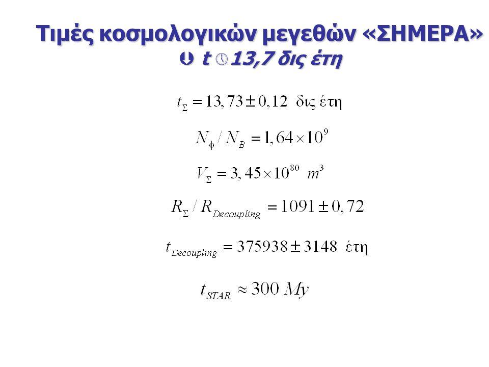 Τιμές κοσμολογικών μεγεθών «ΣΗΜΕΡΑ»  t  13,7 δις έτη