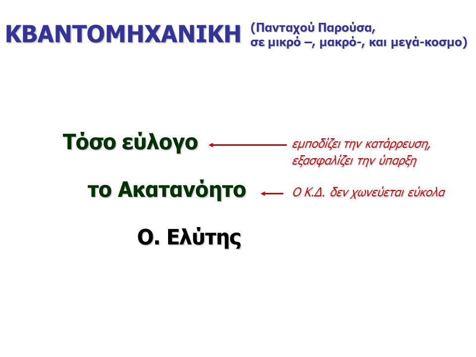 ΚΒΑΝΤΟΜΗΧΑΝΙΚΗ Τόσο εύλογο το Ακατανόητο το Ακατανόητο Ο. Ελύτης Ο. Ελύτης (Πανταχού Παρούσα, σε μικρό –, μακρό-, και μεγά-κοσμο) εμποδίζει την κατάρρ
