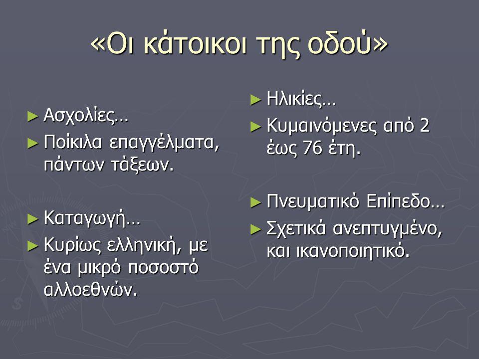 «Οι κάτοικοι της οδού» ►Α►Α►Α►Ασχολίες… ►Π►Π►Π►Ποίκιλα επαγγέλματα, πάντων τάξεων. ►Κ►Κ►Κ►Καταγωγή… ►Κ►Κ►Κ►Κυρίως ελληνική, με ένα μικρό ποσοστό αλλοε