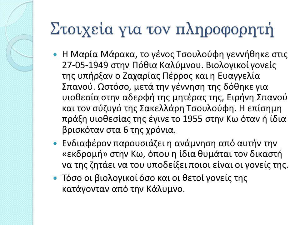 Στοιχεία για τον πληροφορητή Η Μαρία Μάρακα, το γένος Τσουλούφη γεννήθηκε στις 27-05-1949 στην Πόθια Καλύμνου. Βιολογικοί γονείς της υπήρξαν ο Ζαχαρία