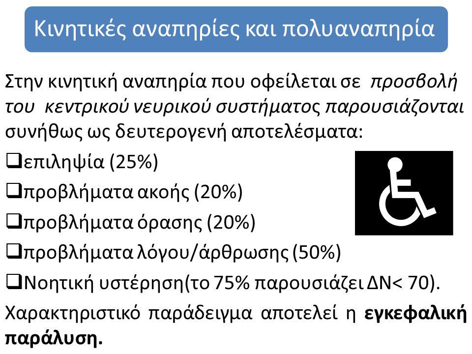 Κινητικές αναπηρίες και πολυαναπηρία Στην κινητική αναπηρία που οφείλεται σε προσβολή του κεντρικού νευρικού συστήματος παρουσιάζονται συνήθως ως δευτερογενή αποτελέσματα:  επιληψία (25%)  προβλήματα ακοής (20%)  προβλήματα όρασης (20%)  προβλήματα λόγου/άρθρωσης (50%)  Νοητική υστέρηση(το 75% παρουσιάζει ΔΝ< 70).