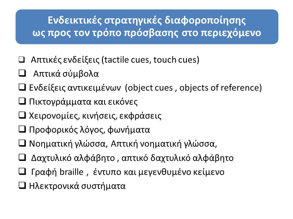 Ενδεικτικές στρατηγικές διαφοροποίησης ως προς τον τρόπο πρόσβασης στο περιεχόμενο  Απτικές ενδείξεις (tactile cues, touch cues)  Απτικά σύμβολα  Ενδείξεις αντικειμένων (object cues, objects of reference)  Πικτογράμματα και εικόνες  Χειρονομίες, κινήσεις, εκφράσεις  Προφορικός λόγος, φωνήματα  Νοηματική γλώσσα, Απτική νοηματική γλώσσα,  Δαχτυλικό αλφάβητο, απτικό δαχτυλικό αλφάβητο  Γραφή braille, έντυπο και μεγενθυμένο κείμενο  Ηλεκτρονικά συστήματα