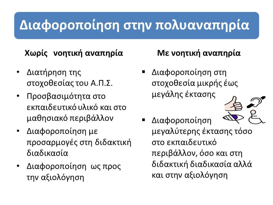 Βασικές αρχές κατά την διδασκαλία Eύλογες προσαρμογές στο μαθησιακό περιβάλλον Πολυαισθητηριακή προσέγγιση Βιωματική διδασκαλία και πραξιακή μάθηση Ανάλυση έργου(κατάτμηση δεξιότητας σε μικρά βήματα) και φθίνουσα καθοδήγηση Έμφαση στις δεξιότητες που προάγουν την αυτονομία και την κοινωνική συμμετοχή Αξιοποίηση συστημάτων εναλλακτικής επικοινωνίας και της υποστηρικτικής τεχνολογίας Δυναμική αξιολόγηση