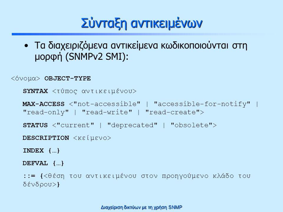 Διαχείριση δικτύων με τη χρήση SNMP Σύνταξη αντικειμένων Τα διαχειριζόμενα αντικείμενα κωδικοποιούνται στη μορφή (SNMPv2 SMI): OBJECT-TYPE SYNTAX MAX-ACCESS STATUS DESCRIPTION INDEX {…} DEFVAL {…} ::= { }