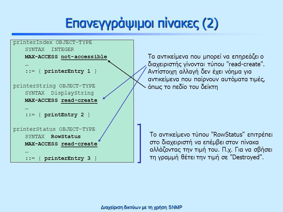 Διαχείριση δικτύων με τη χρήση SNMP Επανεγγράψιμοι πίνακες (2) printerIndex OBJECT-TYPE SYNTAX INTEGER MAX-ACCESS not-accessible … ::= { printerEntry 1 } printerString OBJECT-TYPE SYNTAX DisplayString MAX-ACCESS read-create … ::= { printEntry 2 } printerStatus OBJECT-TYPE SYNTAX RowStatus MAX-ACCESS read-create … ::= { printerEntry 3 } Το αντικείμενο τύπου RowStatus επιτρέπει στο διαχειριστή να επέμβει στον πίνακα αλλάζοντας την τιμή του.