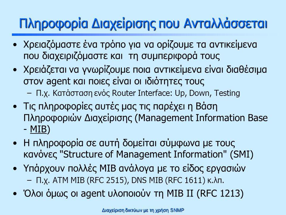 Διαχείριση δικτύων με τη χρήση SNMP Πίνακας σε MIB ifIndexifTypeifInOctetsifOutOctets 1loopback(24)00 2ethernet-csmacd(6)2540 3ethernet-csmacd(6)300500 ifTable OBJECT-TYPE SYNTAX SEQUENCE OF IfEntry … ::= { interfaces 2 } ifEntry OBJECT-TYPE SYNTAX IfEntry … INDEX { ifIndex } ::= { ifTable 1 } IfEntry ::= SEQUENCE { ifIndex INTEGER, ifType INTEGER, ifInOctets Counter, ifOutOctets Counter} ifIndex OBJECT-TYPE SYNTAX INTEGER … ::= { ifEntry 1 } ifType OBJECT-TYPE SYNTAX INTEGER { ethernet-csmacd(6) loopback(24)} … ::= { ifEntry 2 } ifInOctets OBJECT-TYPE SYNTAX Counter … ::= { ifEntry 3 }