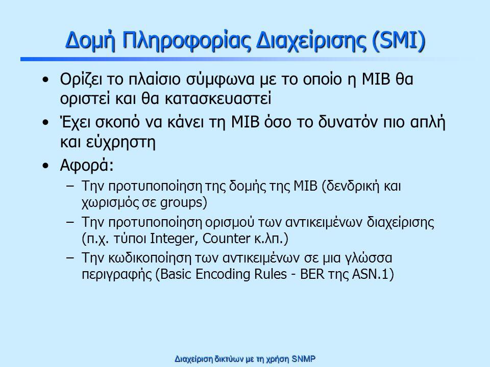 Διαχείριση δικτύων με τη χρήση SNMP Δομή Πληροφορίας Διαχείρισης (SMI) Ορίζει το πλαίσιο σύμφωνα με το οποίο η MIB θα οριστεί και θα κατασκευαστεί Έχει σκοπό να κάνει τη MIB όσο το δυνατόν πιο απλή και εύχρηστη Αφορά: –Την προτυποποίηση της δομής της MIB (δενδρική και χωρισμός σε groups) –Την προτυποποίηση ορισμού των αντικειμένων διαχείρισης (π.χ.