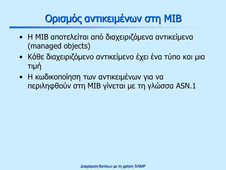 Διαχείριση δικτύων με τη χρήση SNMP Πώς περιγράφουμε την πληροφορία στη MIB Χρησιμοποιείται η γλώσσα ASN.1 (Abstract Syntax Notation.1) –Γλώσσα κωδικοποίησης αφηρημένων συντάξεων στο επίπεδο εφαρμογής –Χρησιμοποιείται για τον ορισμό δομών σε Protocol Data Units (ακριβώς όπως απαιτείται για την μεταφορά της πληροφορίας διαχείρισης) Αφηρημένη σύνταξη: –Αναφέρεται αποκλειστικά στο τμήμα της επικοινωνίας που αφορά την εφαρμογή (διαχωρίζεται από το τμήμα που αφορά τη δικτυακή μεταφορά) –Αναφέρεται αποκλειστικά στη δομή των δεδομένων χωρίς οποιοδήποτε συσχετισμό με την κωδικοποίηση σε χαμηλό επίπεδο –Αφορά τα δεδομένα από τη σκοπιά του χρήστη (δηλαδή τη σημασία τους), ανεξάρτητα από την εφαρμογή