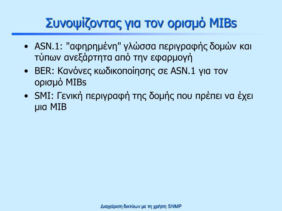 Διαχείριση δικτύων με τη χρήση SNMP Δομή μιας MIB Τα διαχειριζόμενα αντικείμενα οργανώνονται σε μια δενδρική δομή, βάση της οποίας προκύπτει και το όνομα τους (που υποδηλώνει τη μοναδική τους θέση στο δένδρο) root ccitt(0) iso(1) joint(2) org(3) dod(6) internet(1) directory(1) mgmt(2) experimental(3) private(4) mibΙΙ(1) system(1) interfaces(2) at(3) ip(4) icmp(5) tcp(6) udp(7) egp(8) transmission(10) snmp(11) sysUpTime(3) Έτσι, π.χ.