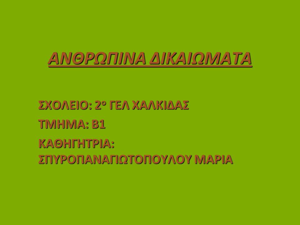 ΠΗΓΕΣ www.humanrights.com www.unric.org www.amnesty.org.gr www.unicef.gr www.greenpeace.org www.hamogelo.gr www.msf.gr www.redcross.gr www.actionaid.gr www.ethelontismos.gr www.sos-villages.gr Βικιπαίδεια
