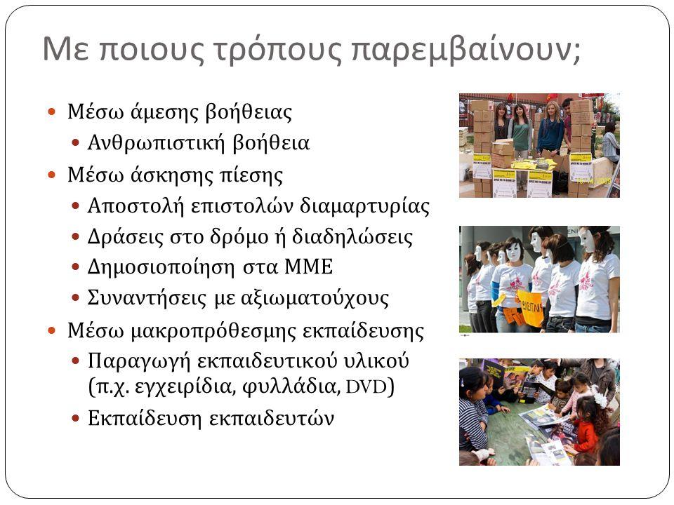 Μ. Κ. Ο. που ασχολούνται με την προστασία των ανθρωπίνων δικαιωμάτων Διεθνής Αμνηστία Παρατηρητήριο ανθρωπίνων δικαιωμάτων Κέντρο δράσης για τα ανθρώπ