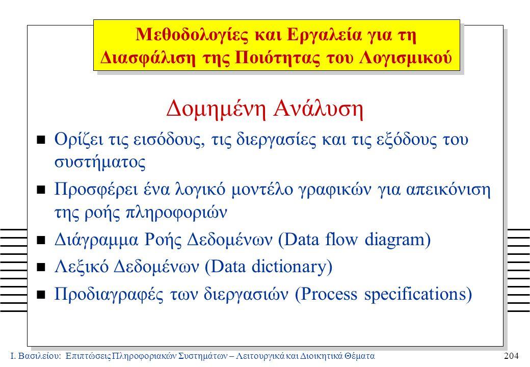 Ι. Βασιλείου: Επιπτώσεις Πληροφοριακών Συστημάτων – Λειτουργικά και Διοικητικά Θέματα204 Δομημένη Ανάλυση n Ορίζει τις εισόδους, τις διεργασίες και τι