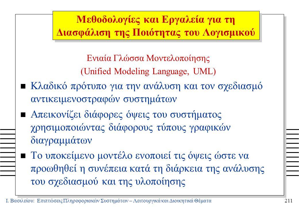 Ι. Βασιλείου: Επιπτώσεις Πληροφοριακών Συστημάτων – Λειτουργικά και Διοικητικά Θέματα211 Ενιαία Γλώσσα Μοντελοποίησης (Unified Modeling Language, UML)