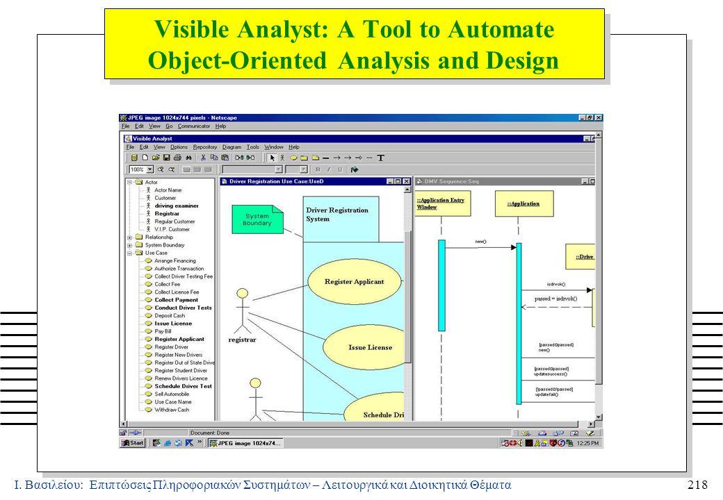 Ι. Βασιλείου: Επιπτώσεις Πληροφοριακών Συστημάτων – Λειτουργικά και Διοικητικά Θέματα218 Visible Analyst: A Tool to Automate Object-Oriented Analysis