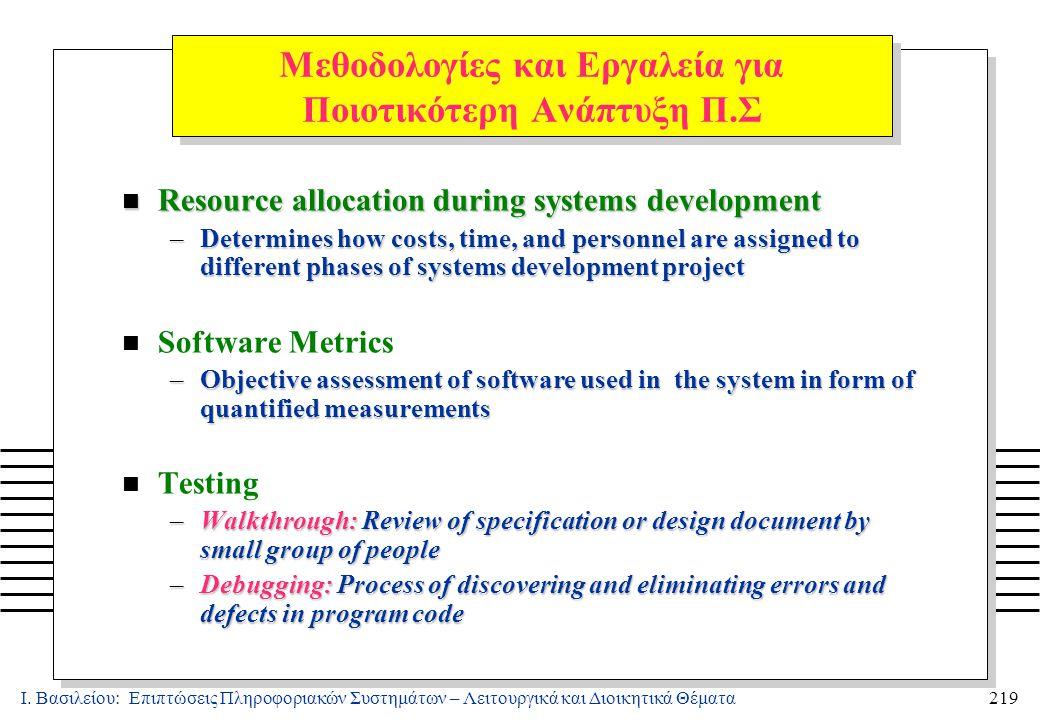 Ι. Βασιλείου: Επιπτώσεις Πληροφοριακών Συστημάτων – Λειτουργικά και Διοικητικά Θέματα219 Μεθοδολογίες και Εργαλεία για Ποιοτικότερη Ανάπτυξη Π.Σ n Res