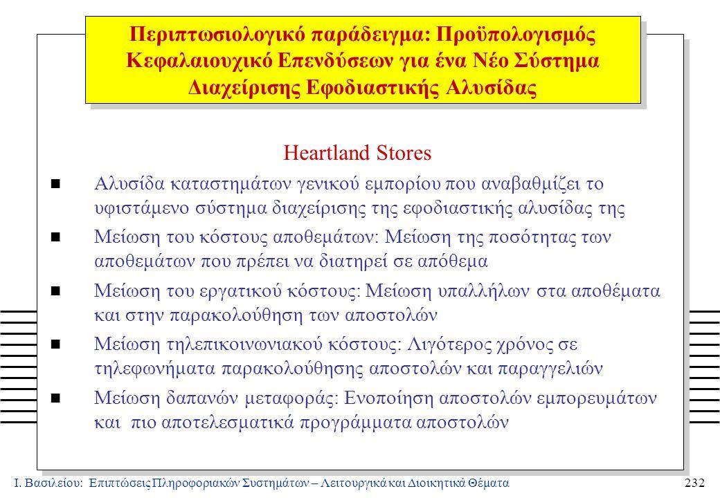 Ι. Βασιλείου: Επιπτώσεις Πληροφοριακών Συστημάτων – Λειτουργικά και Διοικητικά Θέματα232 Heartland Stores n Αλυσίδα καταστημάτων γενικού εμπορίου που
