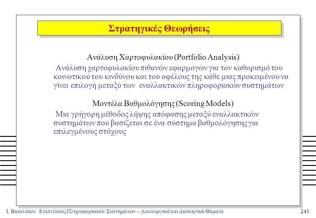 Ι. Βασιλείου: Επιπτώσεις Πληροφοριακών Συστημάτων – Λειτουργικά και Διοικητικά Θέματα241 Ανάλυση Χαρτοφυλακίου (Portfolio Analysis) Ανάλυση χαρτοφυλακ
