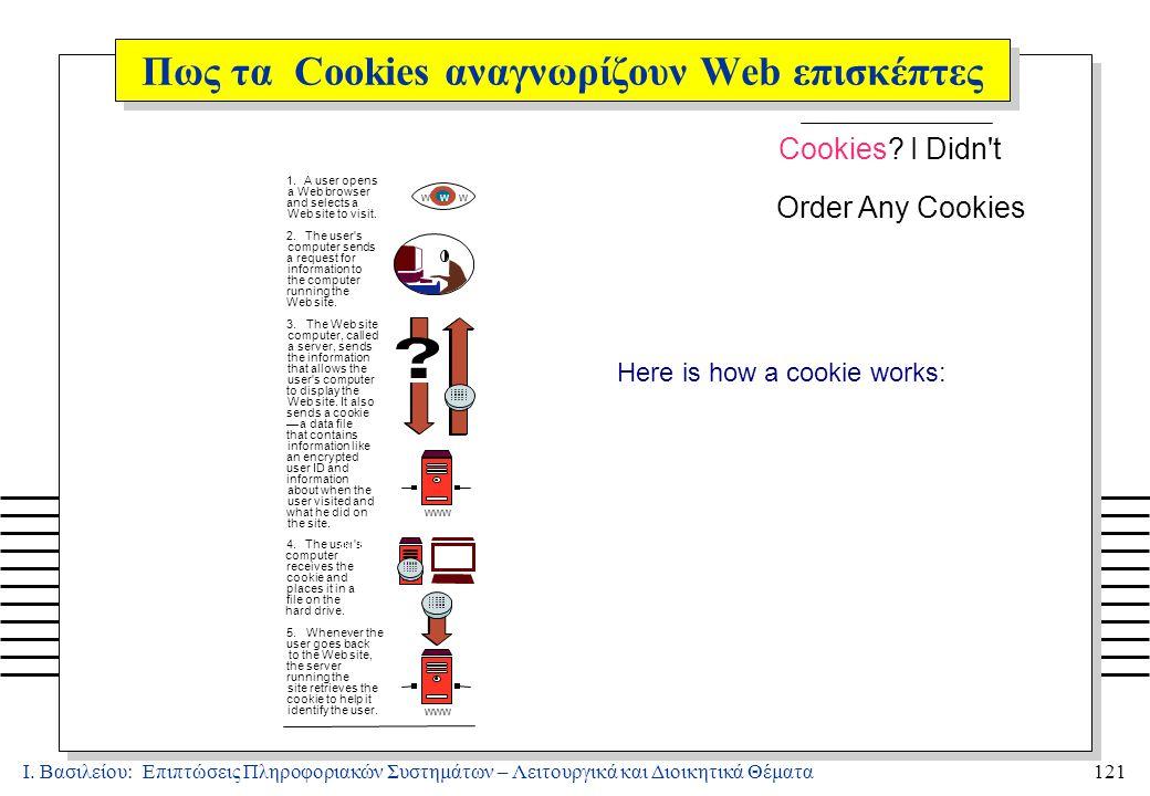 Ι.Βασιλείου: Επιπτώσεις Πληροφοριακών Συστημάτων – Λειτουργικά και Διοικητικά Θέματα121 Cookies.