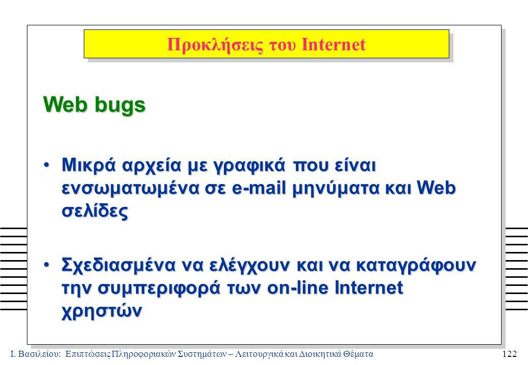 Ι. Βασιλείου: Επιπτώσεις Πληροφοριακών Συστημάτων – Λειτουργικά και Διοικητικά Θέματα122 Web bugs Μικρά αρχεία με γραφικά που είναι ενσωματωμένα σε e-