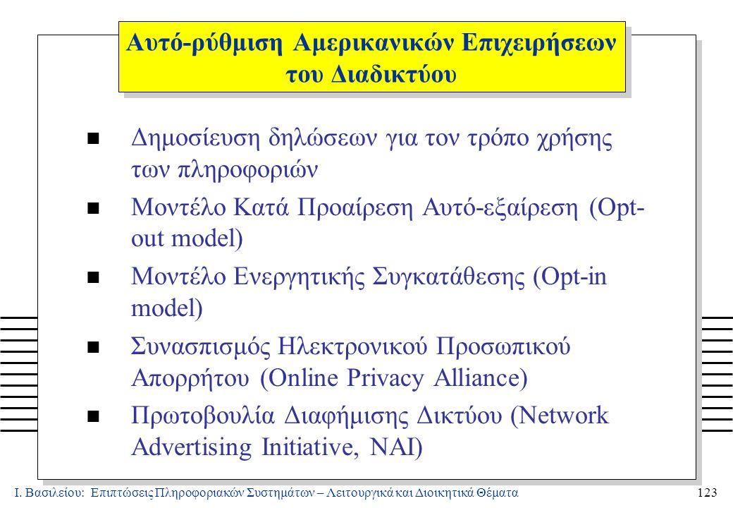 Ι. Βασιλείου: Επιπτώσεις Πληροφοριακών Συστημάτων – Λειτουργικά και Διοικητικά Θέματα123 Αυτό-ρύθμιση Αμερικανικών Επιχειρήσεων του Διαδικτύου n Δημοσ
