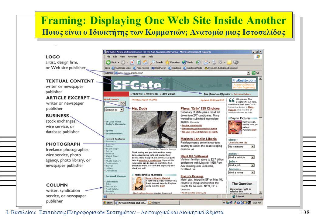 Ι. Βασιλείου: Επιπτώσεις Πληροφοριακών Συστημάτων – Λειτουργικά και Διοικητικά Θέματα138 Framing: Displaying One Web Site Inside Another Ποιος είναι ο