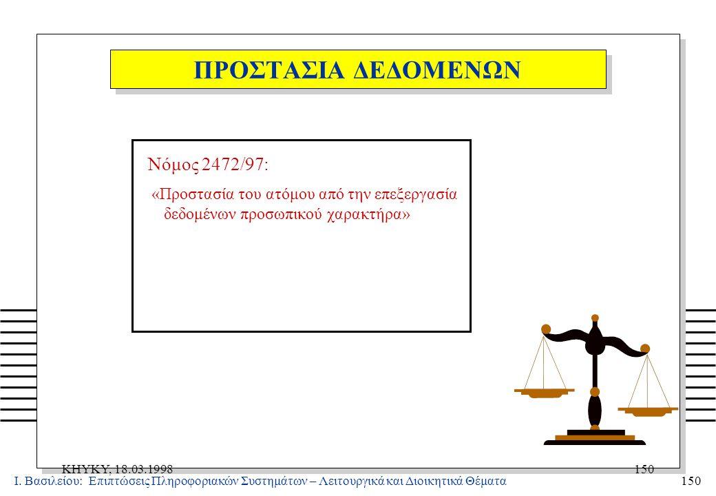 Ι. Βασιλείου: Επιπτώσεις Πληροφοριακών Συστημάτων – Λειτουργικά και Διοικητικά Θέματα150 KHYKY, 18.03.1998150 Νόμος 2472/97: «Προστασία του ατόμου από