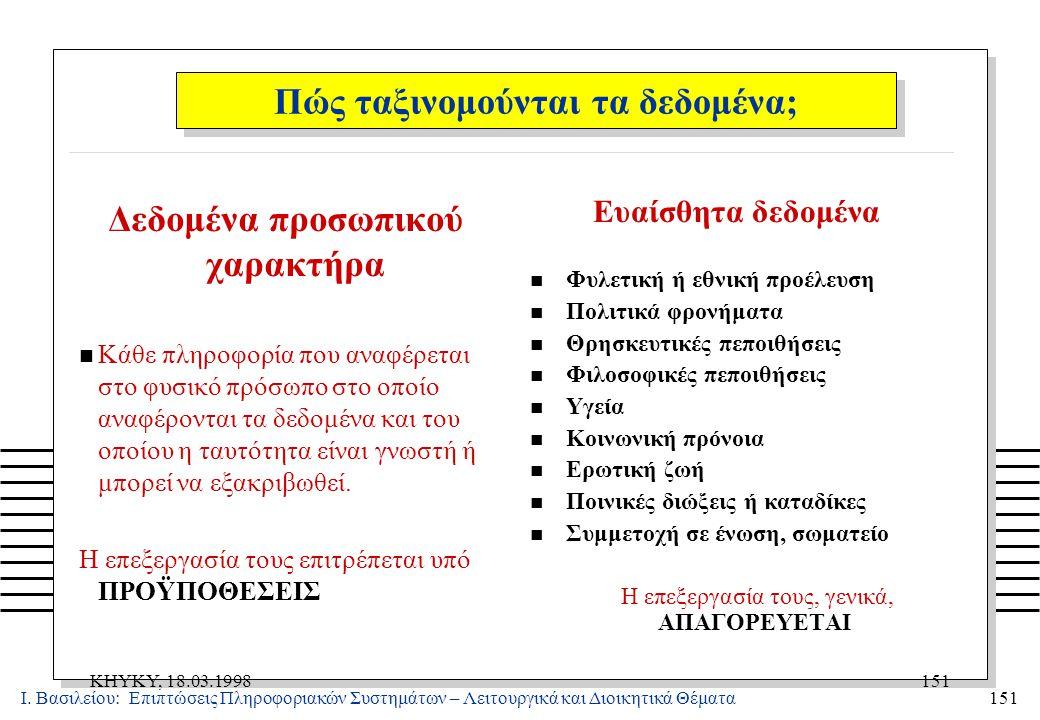 Ι. Βασιλείου: Επιπτώσεις Πληροφοριακών Συστημάτων – Λειτουργικά και Διοικητικά Θέματα151 KHYKY, 18.03.1998151 Ευαίσθητα δεδομένα n Φυλετική ή εθνική π