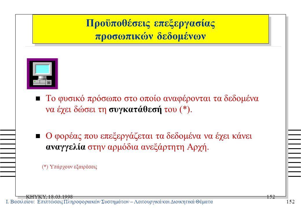 Ι. Βασιλείου: Επιπτώσεις Πληροφοριακών Συστημάτων – Λειτουργικά και Διοικητικά Θέματα152 KHYKY, 18.03.1998152 n Το φυσικό πρόσωπο στο οποίο αναφέροντα