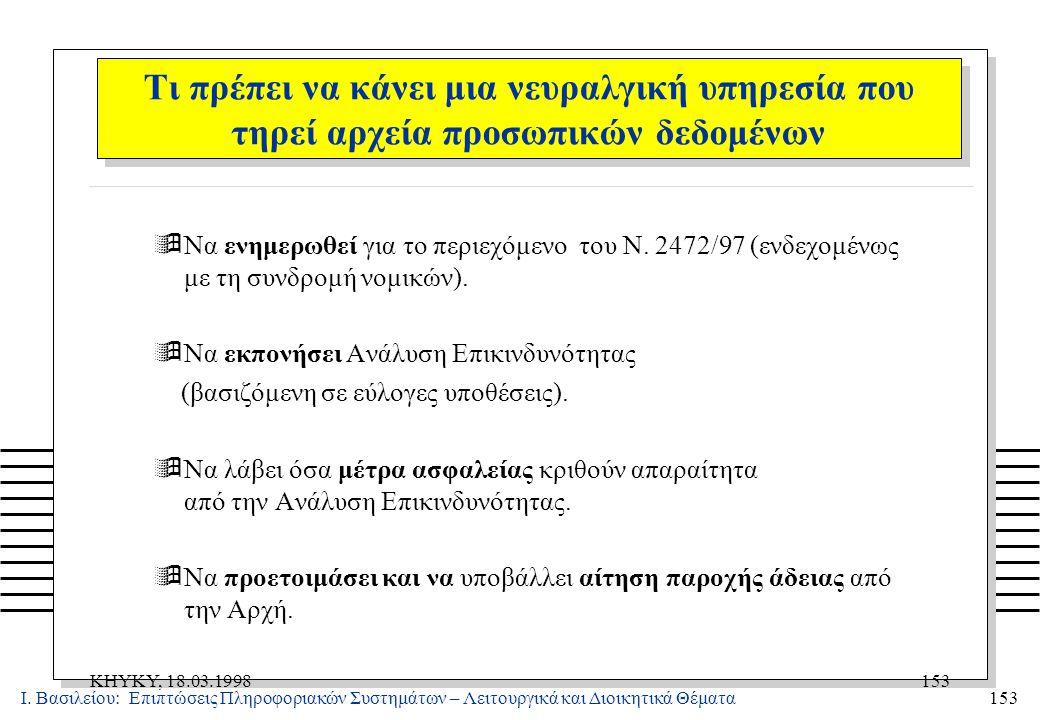 Ι. Βασιλείου: Επιπτώσεις Πληροφοριακών Συστημάτων – Λειτουργικά και Διοικητικά Θέματα153 KHYKY, 18.03.1998153 ÿΝα ενημερωθεί για το περιεχόμενο του Ν.