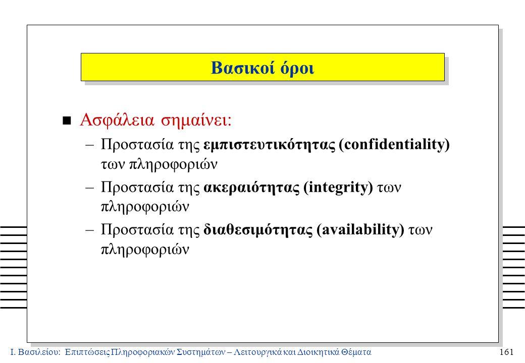 Ι. Βασιλείου: Επιπτώσεις Πληροφοριακών Συστημάτων – Λειτουργικά και Διοικητικά Θέματα161 n Ασφάλεια σημαίνει: –Προστασία της εμπιστευτικότητας (confid