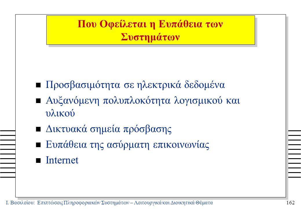 Ι. Βασιλείου: Επιπτώσεις Πληροφοριακών Συστημάτων – Λειτουργικά και Διοικητικά Θέματα162 n Προσβασιμότητα σε ηλεκτρικά δεδομένα n Αυξανόμενη πολυπλοκό