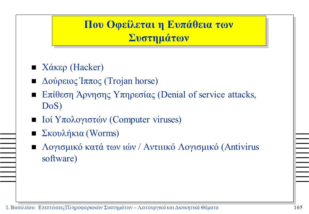 Ι. Βασιλείου: Επιπτώσεις Πληροφοριακών Συστημάτων – Λειτουργικά και Διοικητικά Θέματα165 n Χάκερ (Hacker) n Δούρειος Ίππος (Trojan horse) n Επίθεση Άρ