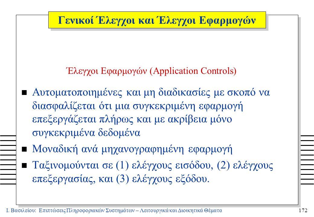 Ι. Βασιλείου: Επιπτώσεις Πληροφοριακών Συστημάτων – Λειτουργικά και Διοικητικά Θέματα172 Έλεγχοι Εφαρμογών (Application Controls) n Αυτοματοποιημένες