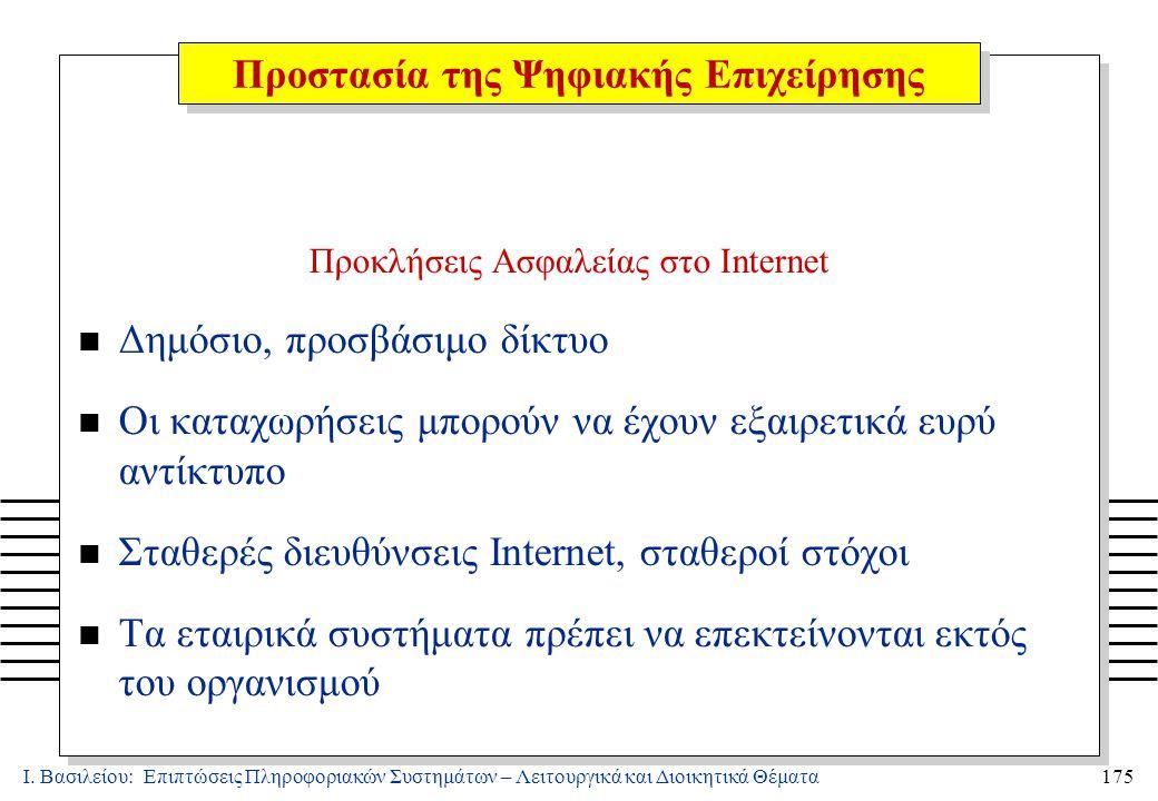 Ι. Βασιλείου: Επιπτώσεις Πληροφοριακών Συστημάτων – Λειτουργικά και Διοικητικά Θέματα175 Προκλήσεις Ασφαλείας στο Internet n Δημόσιο, προσβάσιμο δίκτυ