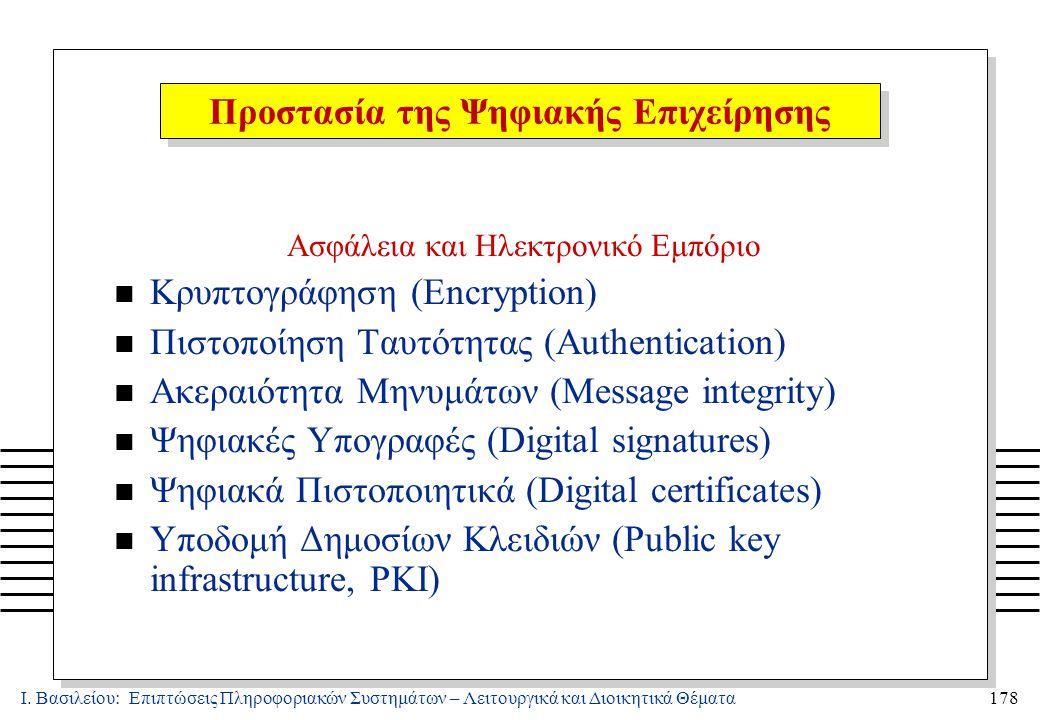 Ι. Βασιλείου: Επιπτώσεις Πληροφοριακών Συστημάτων – Λειτουργικά και Διοικητικά Θέματα178 Ασφάλεια και Ηλεκτρονικό Εμπόριο n Κρυπτογράφηση (Encryption)