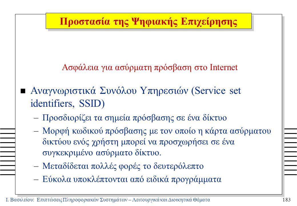 Ι. Βασιλείου: Επιπτώσεις Πληροφοριακών Συστημάτων – Λειτουργικά και Διοικητικά Θέματα183 Ασφάλεια για ασύρματη πρόσβαση στο Internet n Αναγνωριστικά Σ
